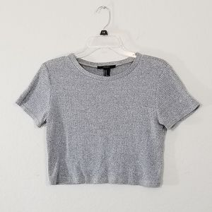 ♨️2/$20♨️ FOREVER 21 Crop Ribbed Grey Short Sleeve